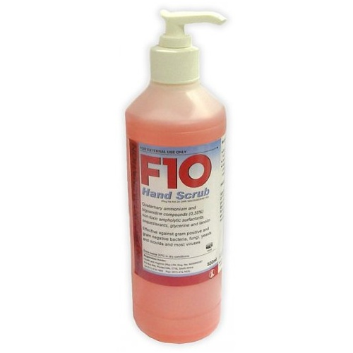 F10 Disinfectant Hand Scrub Pump Pack | 500ml | Hospital Grade Hand Scrub | Kills Viruses & Bacteria | Protect Your Family