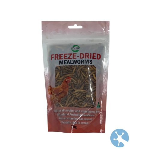 Freeze Dried Mealworms | 40g Bag | For Bearded Dragons | Lixzards | Chooks | Native Birds